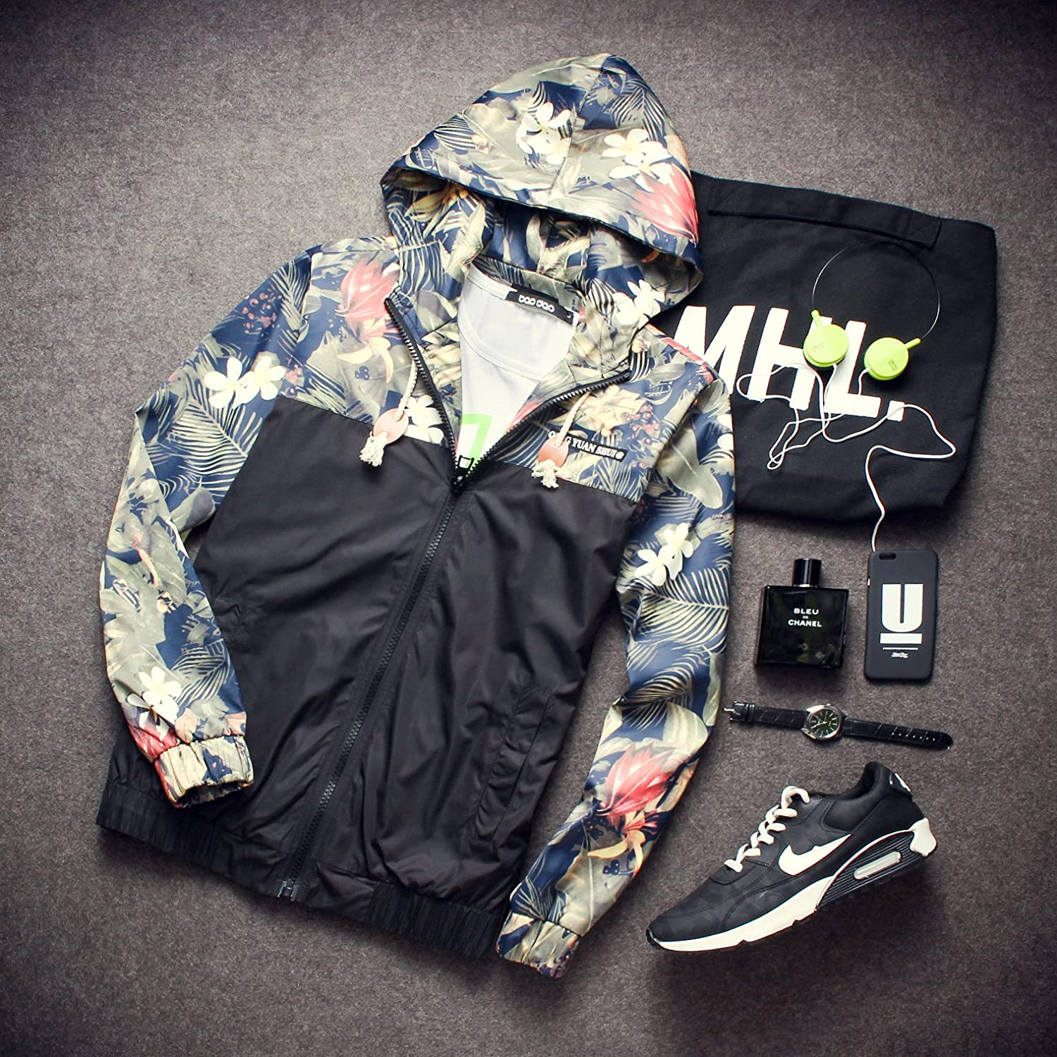 Mens Stylish Floral Printed Light Weight Hoodie Jackets Windbreaker Coat at Amazon Mens Clothing store: