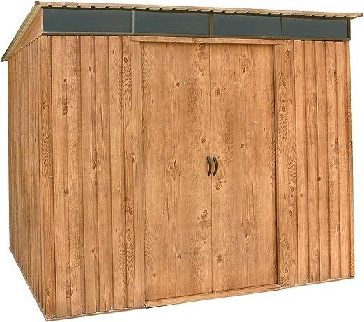 Gartendia Casa de Metal de Dispositivo con Puertas correderas, Dispositivos de caseta en imitación de Madera de Roble: Amazon.es: Jardín