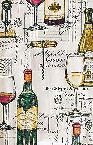 "Newbridge Wine Tasting Print Vinyl Flannel Backed Tablecloth - French Wine Bottles and London Spirit Merchants Design Indoor/Outdoor Wipe Clean Easy Care Vinyl Tablecloth, 70"" Round"