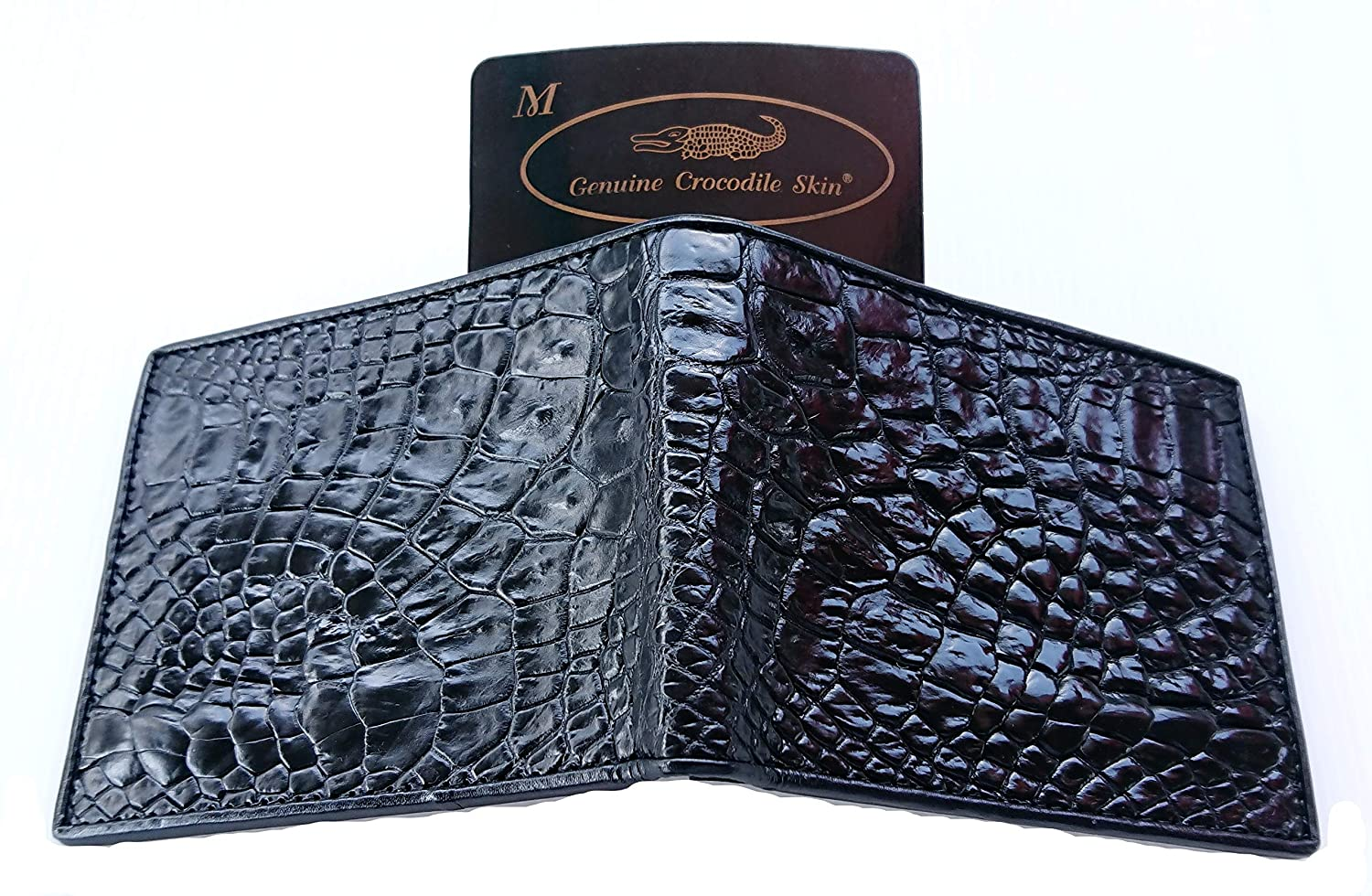 Genuine Real Belly Crocodile Leather Skin Man Bifold Black Wallet
