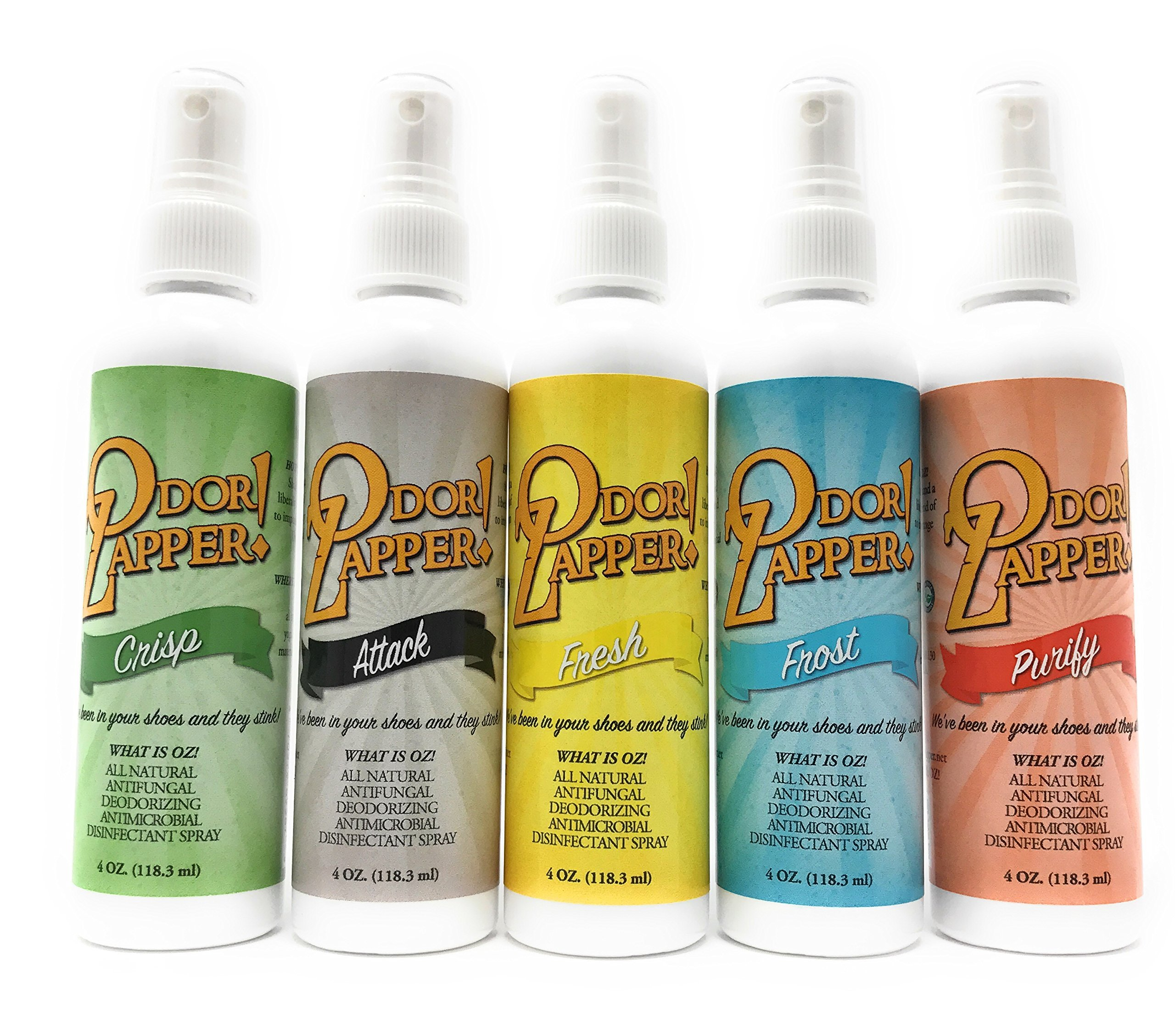 Odor Zapper Disinfectant Spray - For use in Shoes, Gym Bags, Yoga Mats, Kid's Cars and More! ''Variety Pack'' 5 Pack, 4oz bottles