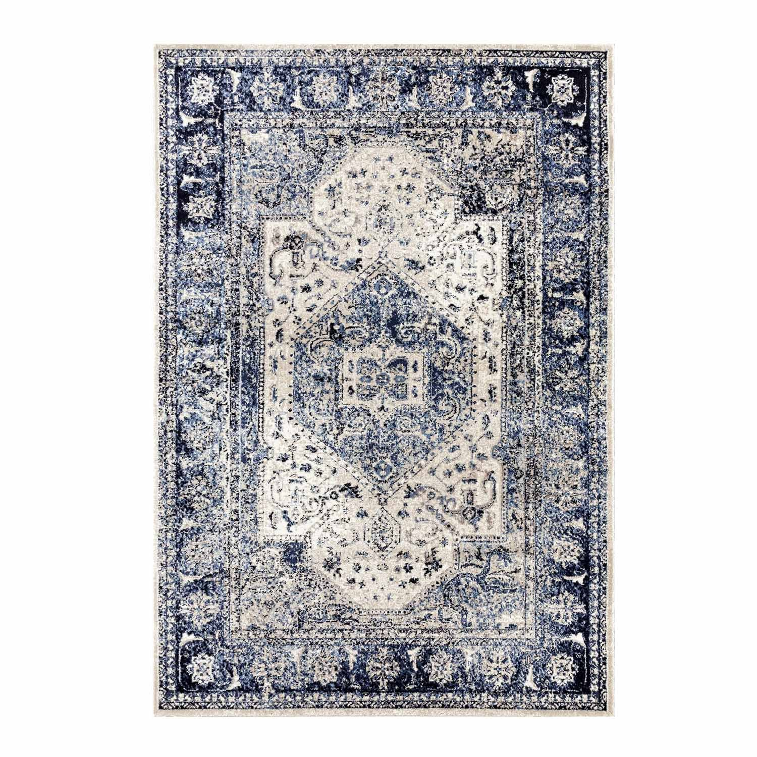 Ladole Rugs Anatolia Collection Beautiful European Smooth Area Rug Carpet in Blue Ivory, 2x3 (2' x 3'3, 60cm x 100cm) 2x3 (2' x 3'3