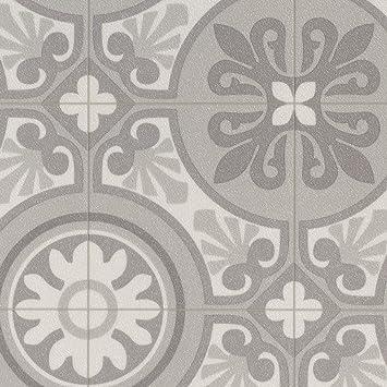 PVC Bodenbelag Steinoptik | Fliesenoptik Retro grau | 200, 300 und 400 cm  Breite | Meterware, verschiedene Größen | Größe: 3 x 4 m