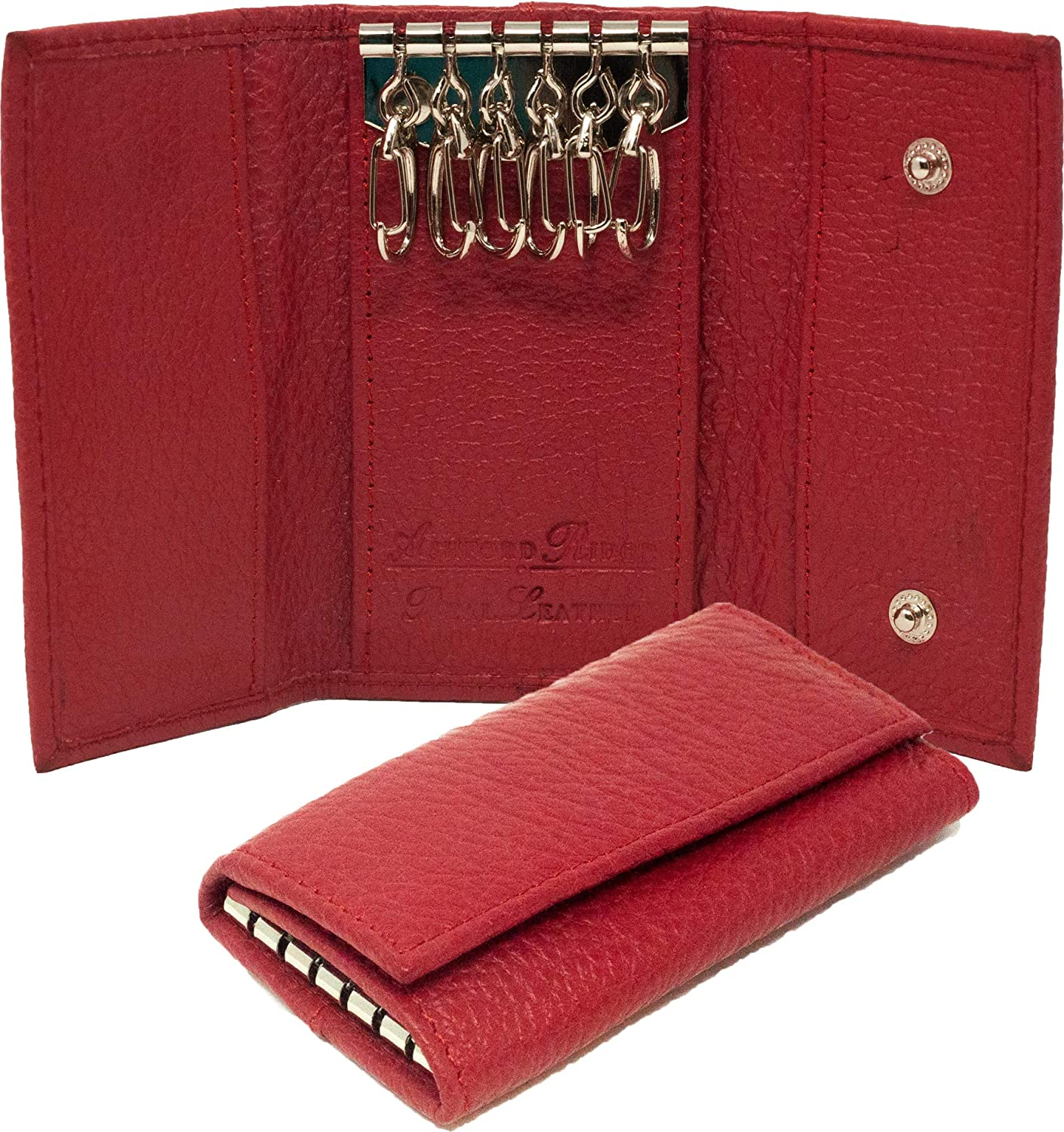 Ashford Ridge Real Leather Key Case Holder Card Wallet in 6 Colours Black Red Tan and Brown