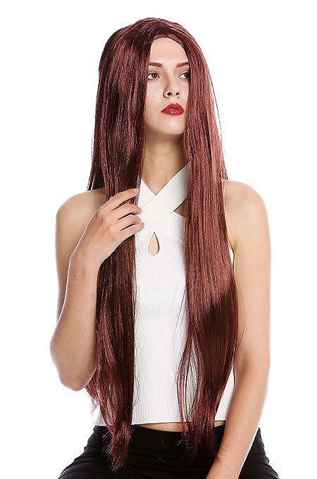 WIG ME UP ® - TH46-P30 Peluca Mujer Hombre Carnaval Halloween Muy Largo Liso Raya Medio Hippie Caoba marrón Rojizo