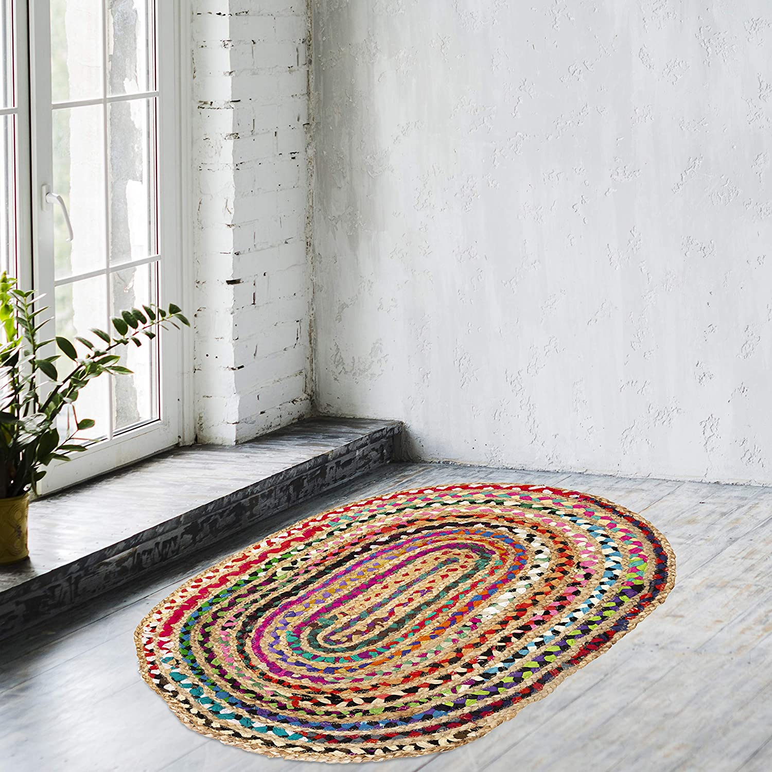 Eleet Reversible Jute & Cotton Area Rug - Multicolor Hand Woven Braided Rug Rag, Colors May Vary (2x3 Feet Cotton+Jute (Oval))