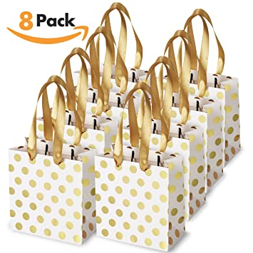 Amazon.com: Small Gift Bags with Ribbon Handles: Gold Mini Gift Bag ...