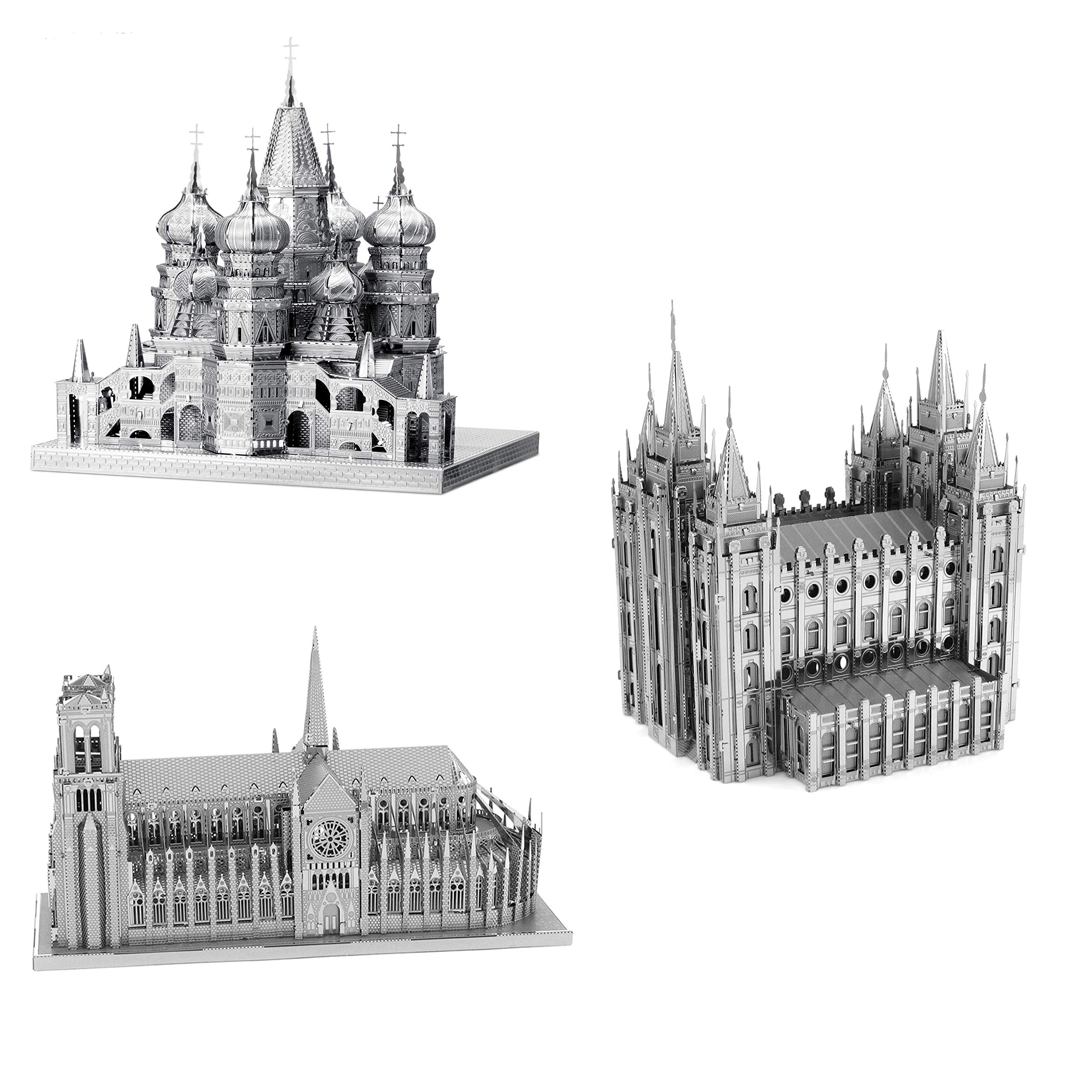 Fascinations ICONX 3D Metal Model Kits Set of 3 - St Basil's Cathedral - Notre Dame Cathedral - Salt Lake City Temple