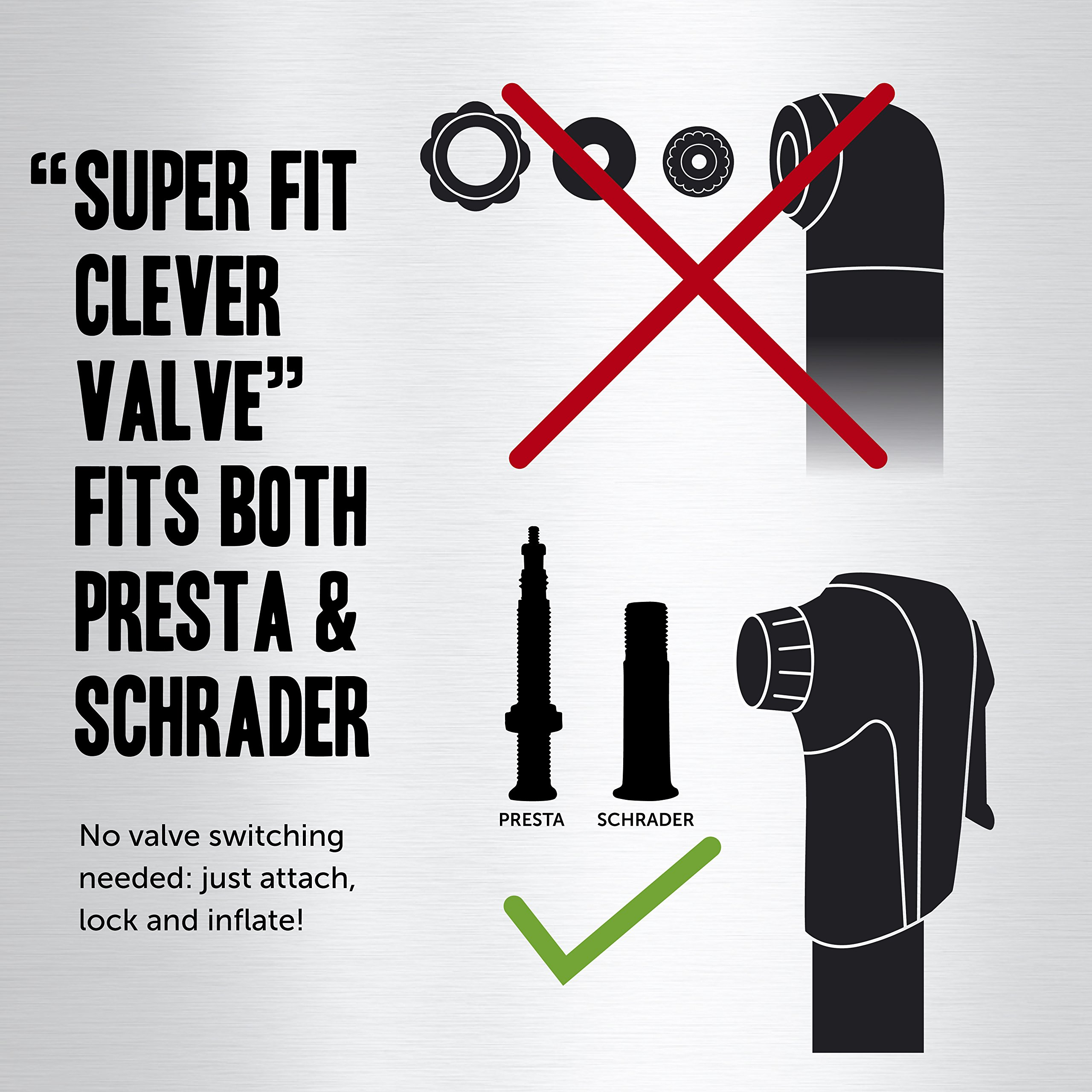 Vibrelli Mini Bike Pump & Glueless Puncture Repair Kit - Fits Presta & Schrader - 120 PSI - No Valve Changing Needed by Vibrelli (Image #6)