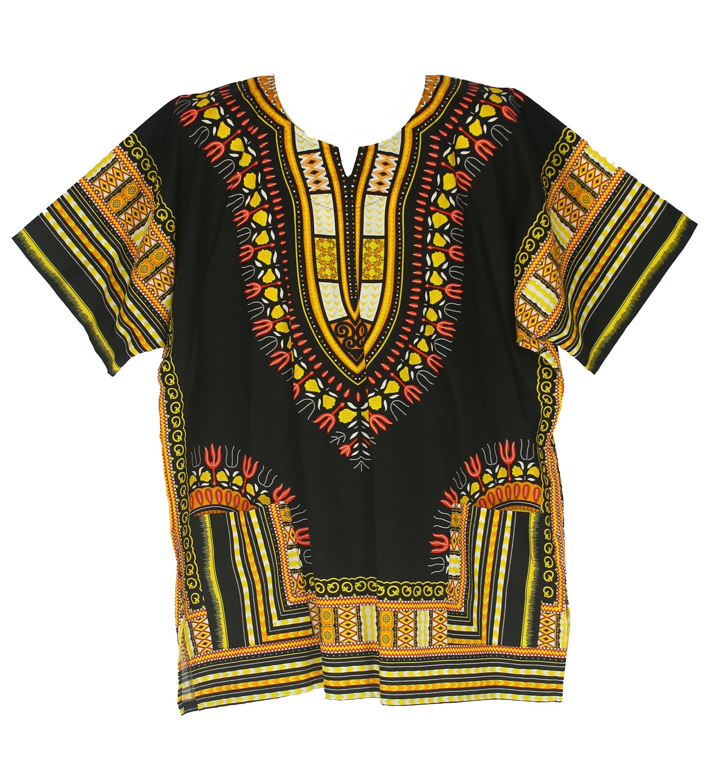 Vipada Handmade's Traditional Dashiki Shirt for men and women Black and Yellow L