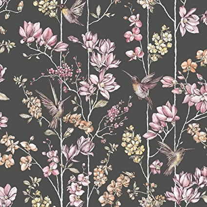 Holden Floral Charm Hummingbird Wallpaper Black 12393