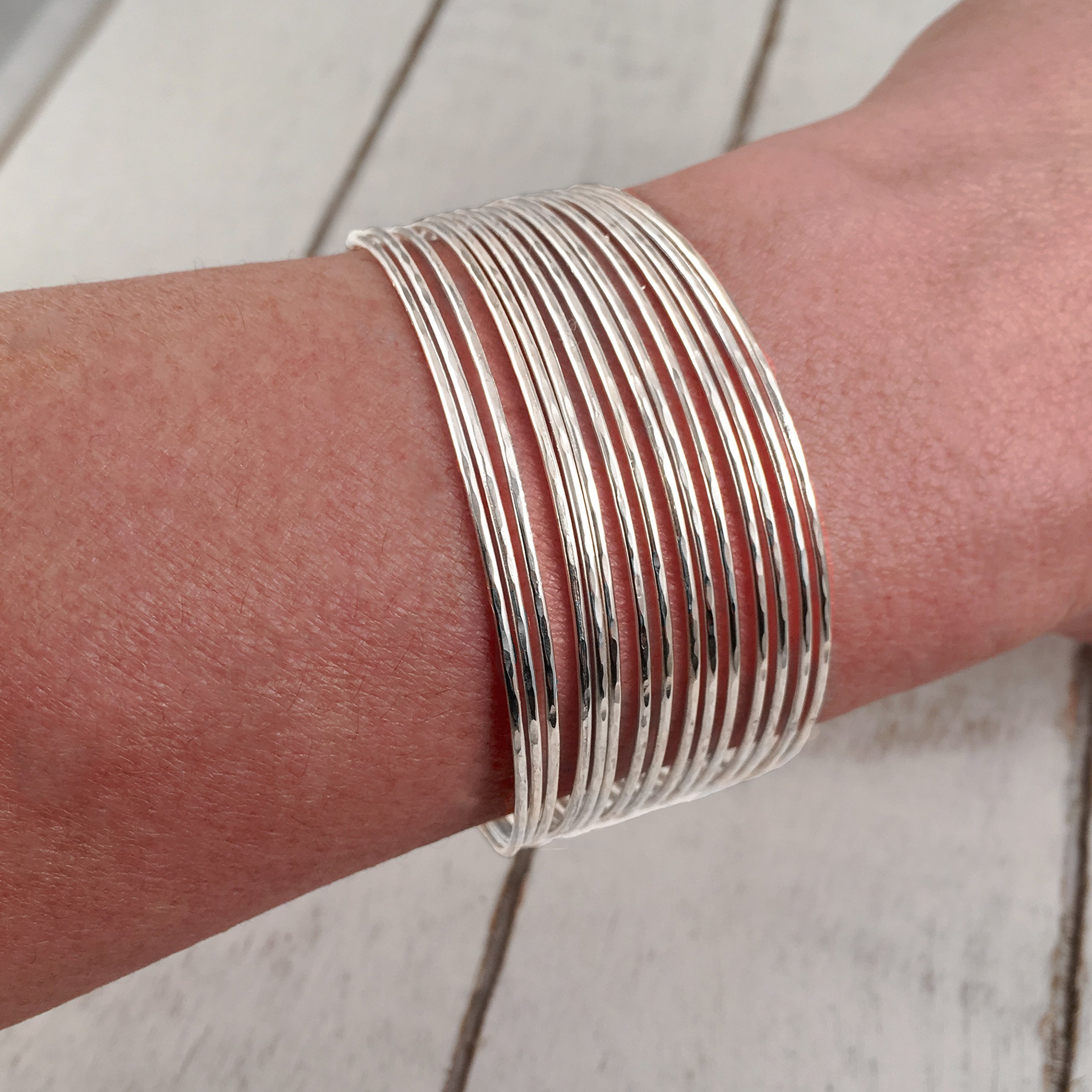 Multiple Wire Strand Bangle Cuff Bracelet, Sterling Silver 925 Polished Finish, Shiny Lightweight Statement Piece. Handmade by Claudia Lira in Peru. - READY TO ORDER -