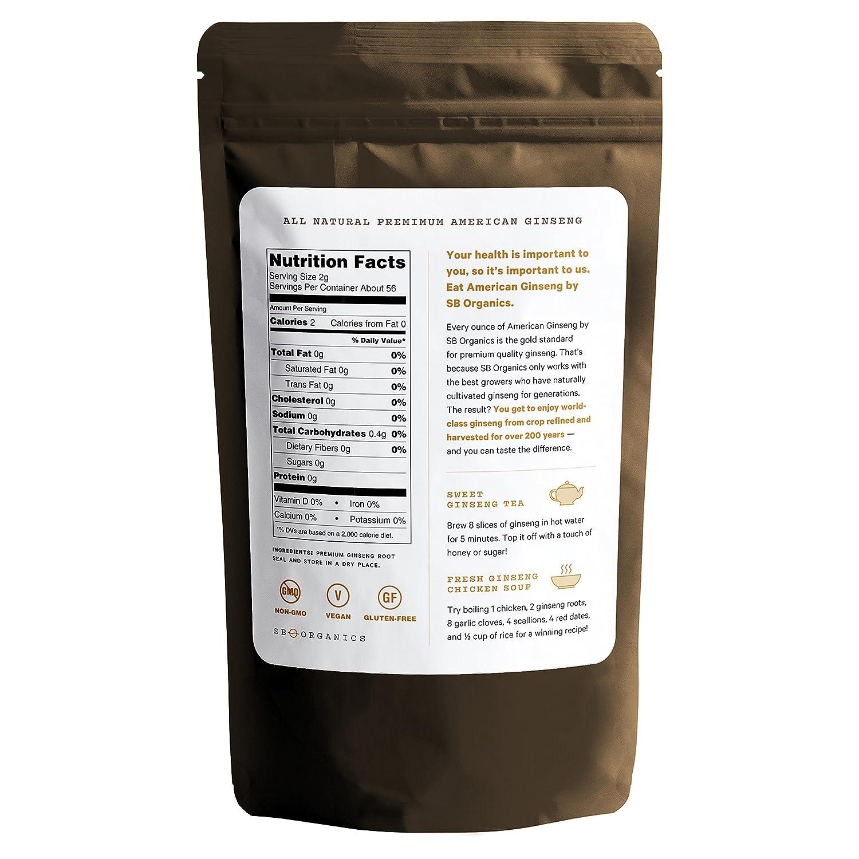 SB Organics Ginseng – Wisconsin Farmed Ginseng Root – Vegan, Non-GMO, Gluten Free Herb – 16 oz