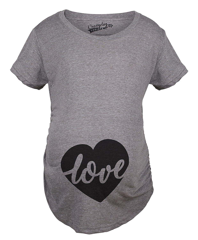 Maternity Love Script Heart Valentines Day Pregnancy Announcement T shirt Crazy Dog Tshirts 017LoveHeartMAT