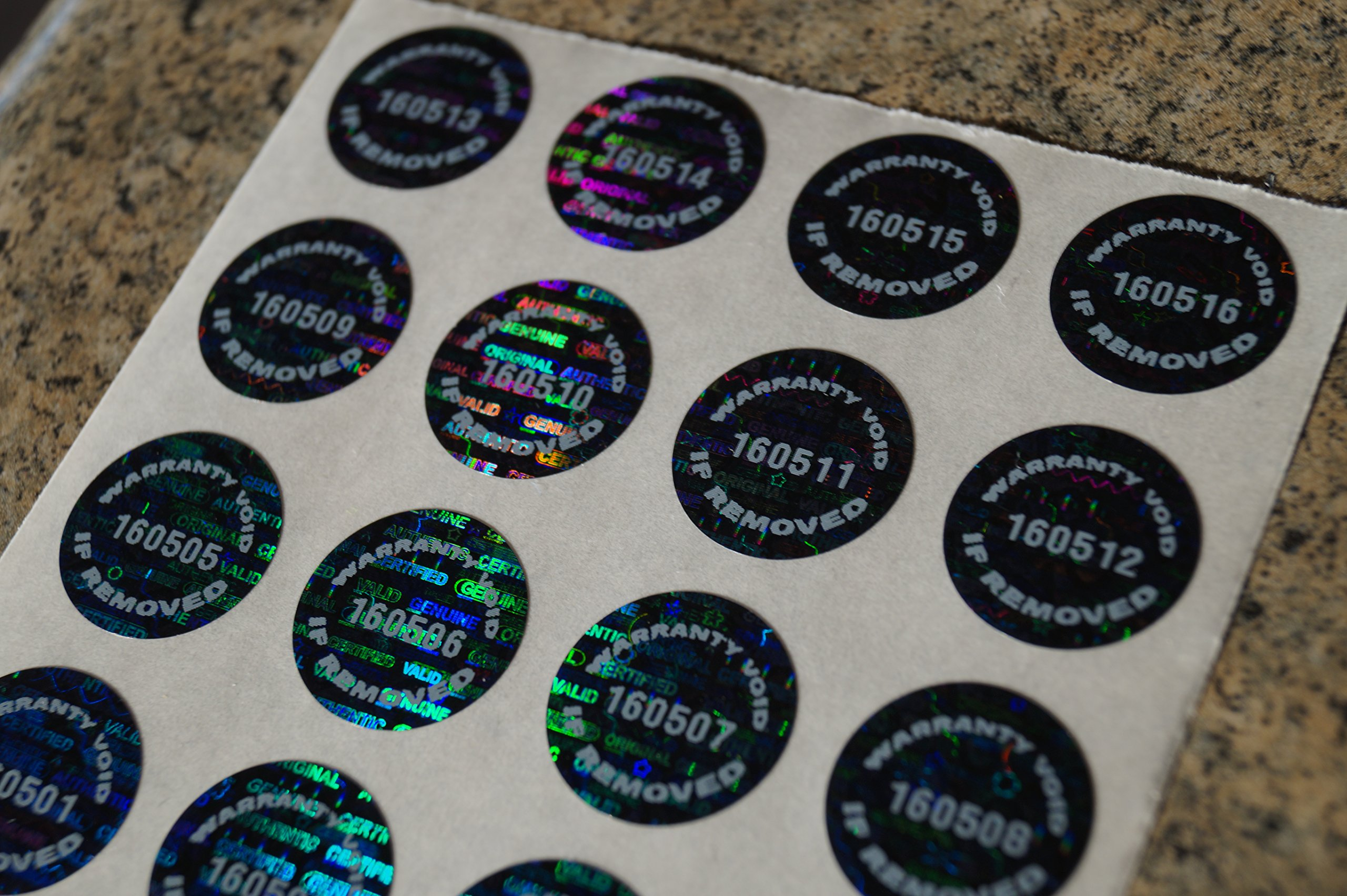 250 Black Tamper Evident Warranty Void High Security Labels Stickers (.65 Inch Round)