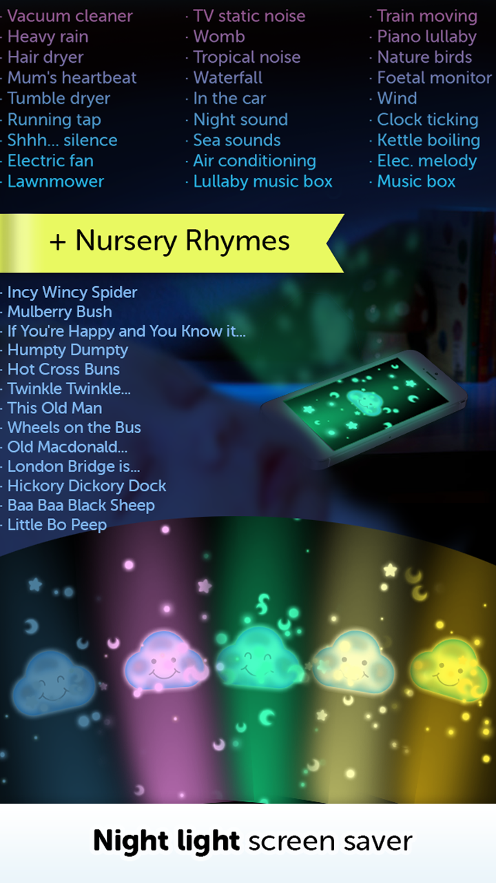 Amazoncom Baby White Noise Generator Nursery Rhymes Music