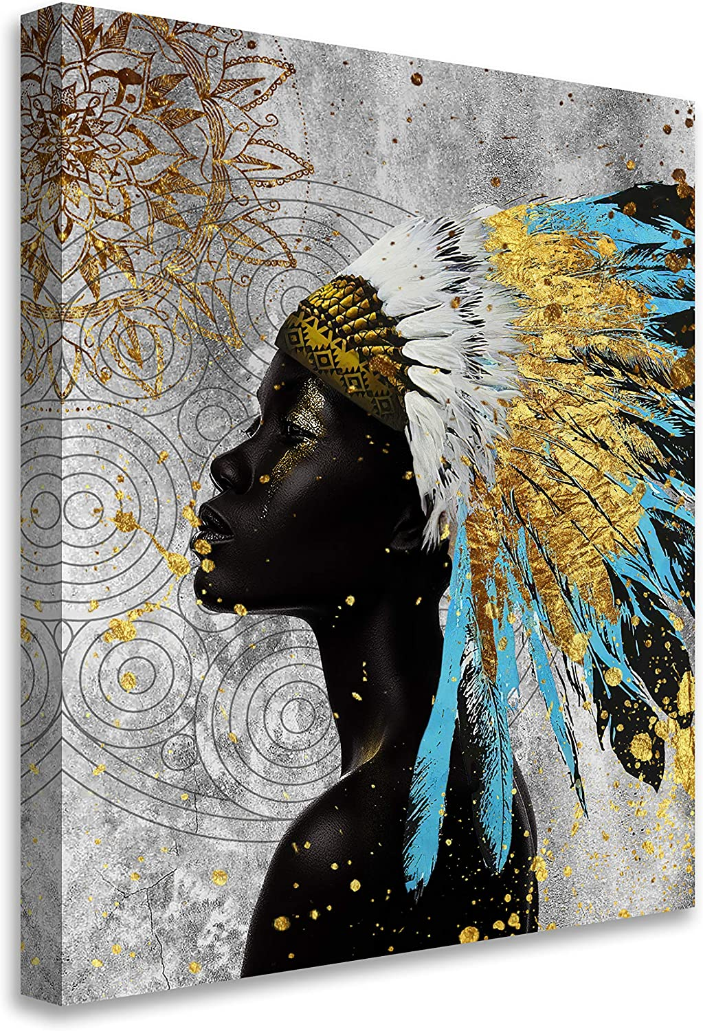 Framed African American Wall Art Black Art Blue Gold Feathered African Indian Women Painting on Canvas Print Wall Picture for Living Room Home Decor Stretched Ready to Hang,11x14in