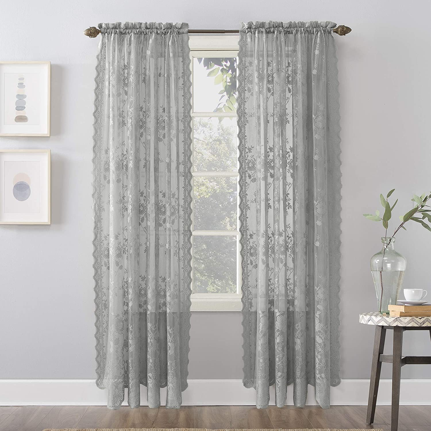 Amazon Com No 918 Alison Floral Lace Sheer Rod Pocket Curtain Panel 58 X 63 Dove Gray Home Kitchen