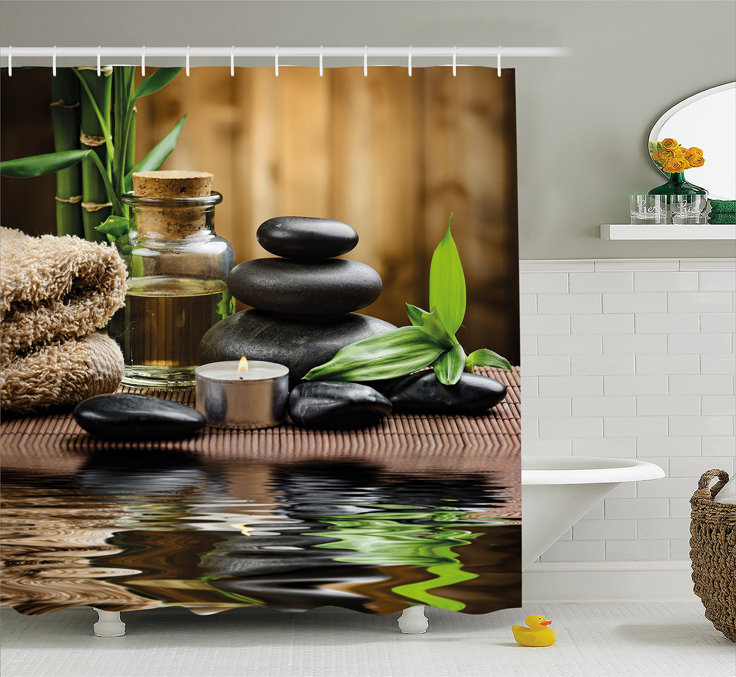 Ambesonne Spa Decor Shower Curtain, Asian Zen Massage Stone Triplets with Herbal Oil and Scent Candles, Fabric Bathroom Decor Set with Hooks, 84 Inches Extra Long, Sand Brown Green