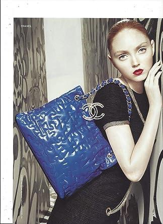 65b39ea1e86b19 Amazon.com: MAGAZINE AD With Lilly Cole For Chanel Blue Handbags ...