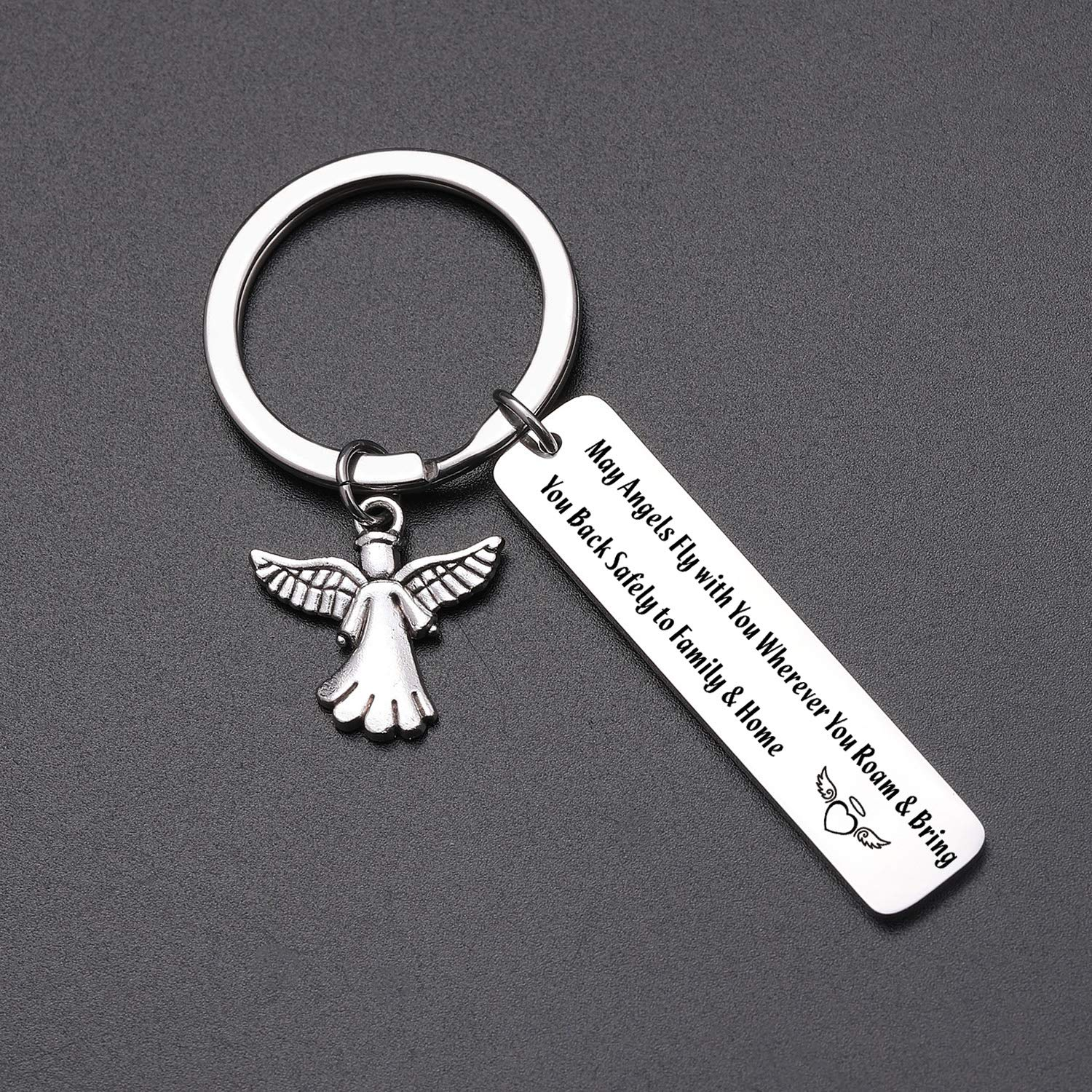 May Angels Fly with You Wherever You Roam Bring You Back Safely to Family and Home Keychain Gift for family friends