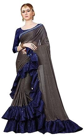 2daa8872c2ebe4 Magneitta Women s Imported Fabric Frill Ruffle Saree (Multicolour ...