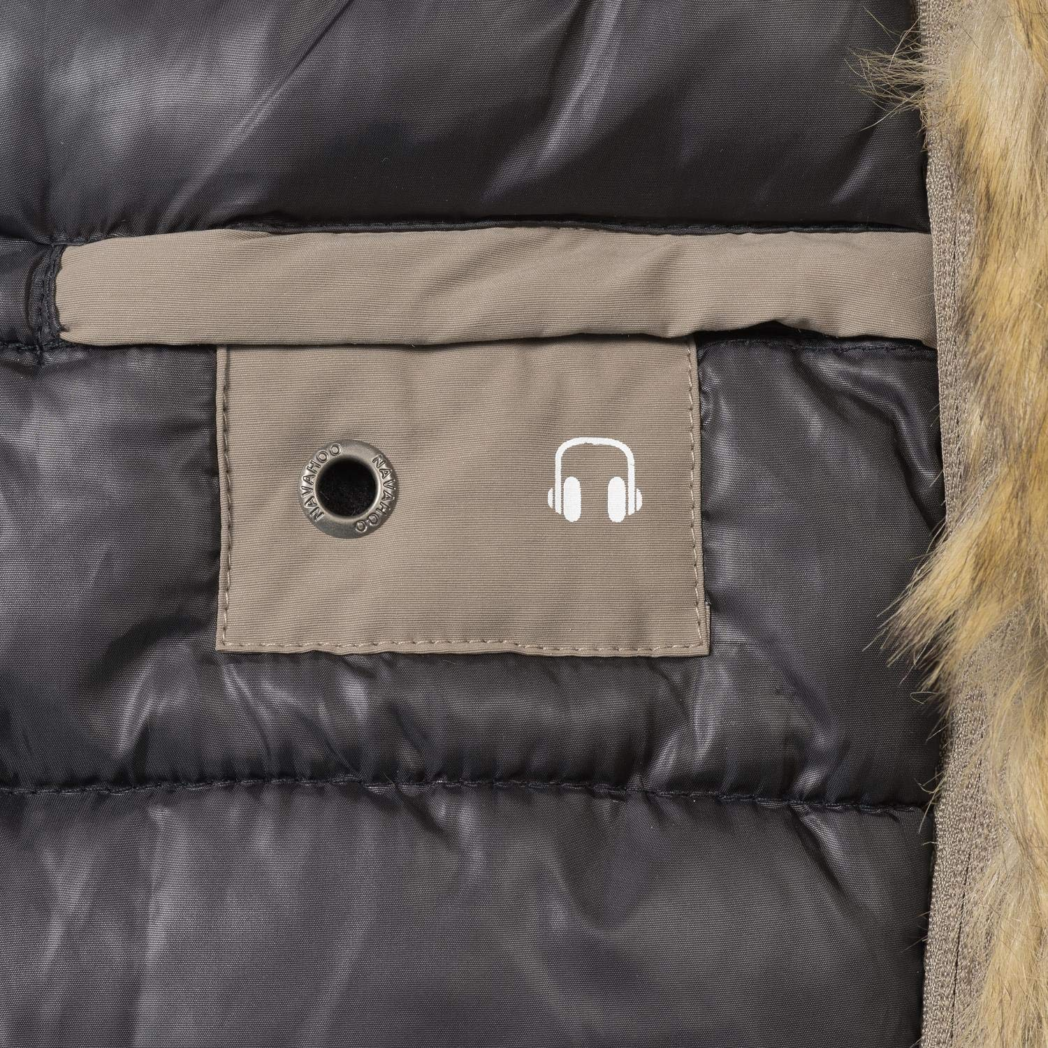 Navahoo Sweety Veste d'hiver Parka pour Dame 2in1 9 Couleurs XS-XXL Taupe Mit Braunem Fell
