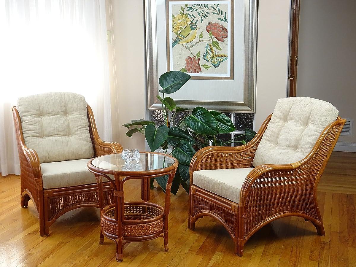 SunBear Furniture Lounge Jam Arm Chair ECO Natural Handmade Rattan Wicker with White Cushions Gognac (Light Brown)