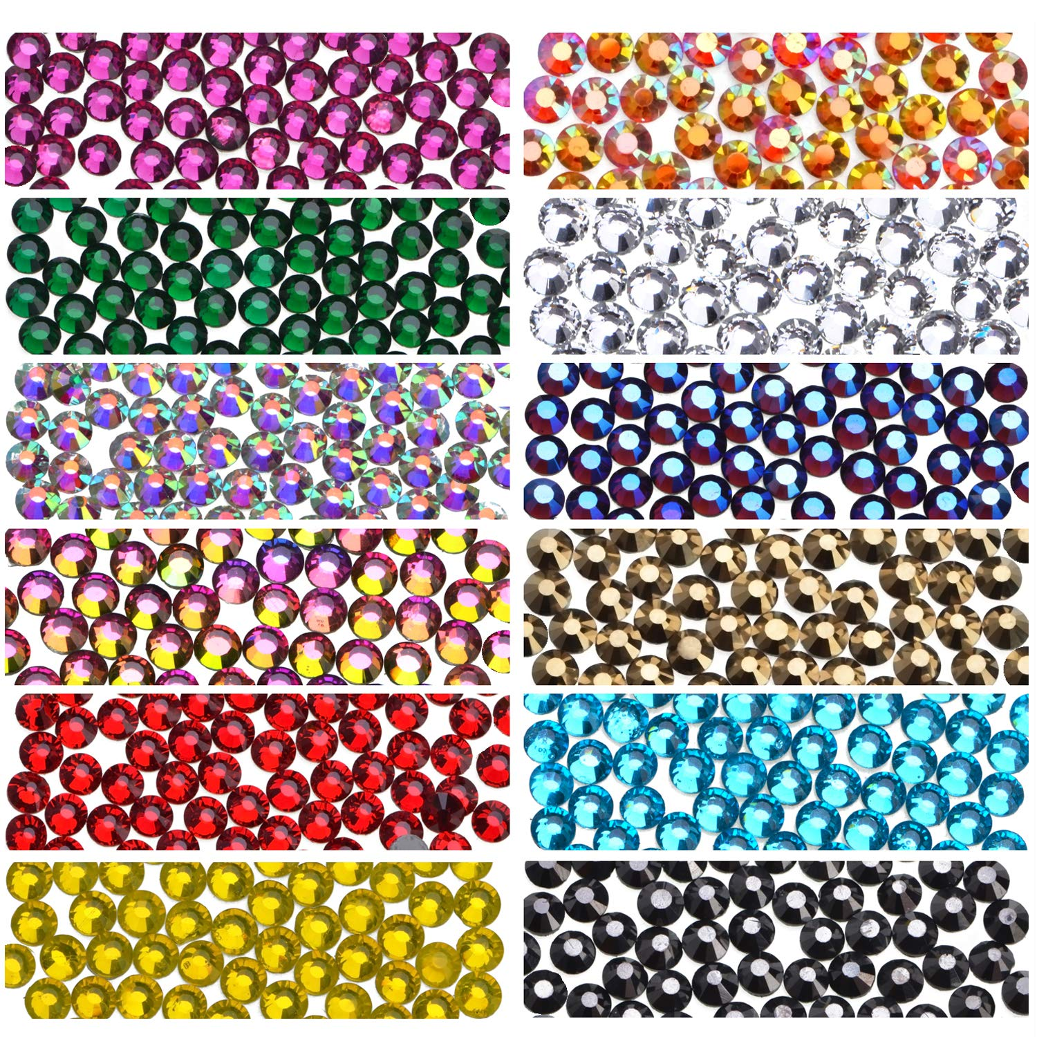 1800 Pieces Hot Fix Glass Flatback Rhinestones HotFix Round Crystal Gems 5 MM (12 Colors, 5mm) by MSBeads