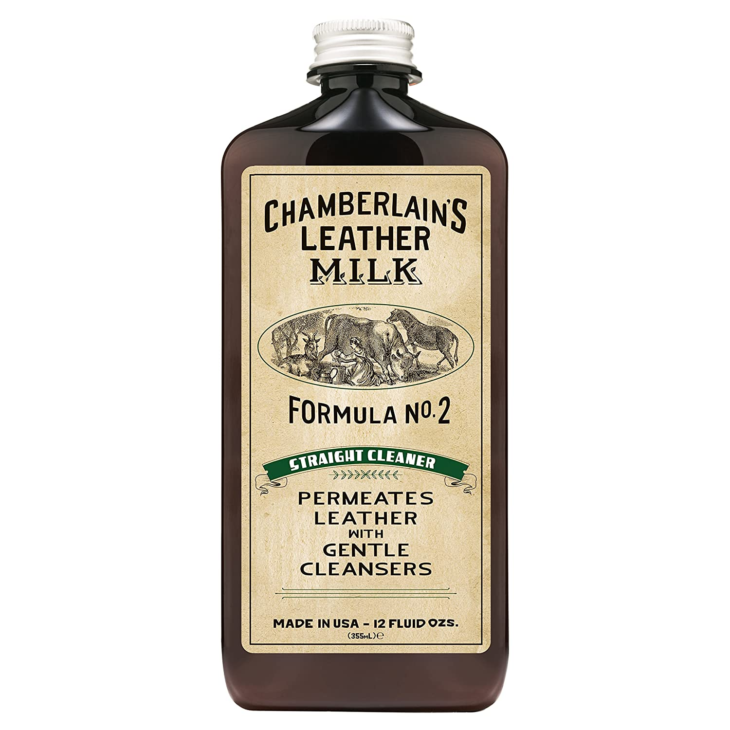 Leather Milk Leather Cleaner - Straight Cleaner No. 2 - All Natural, Non-Toxic Deep Cleaner Made in the USA. 2 Sizes. Includes Premium Cleaning Pad! Chamberlain' s Leather Milk