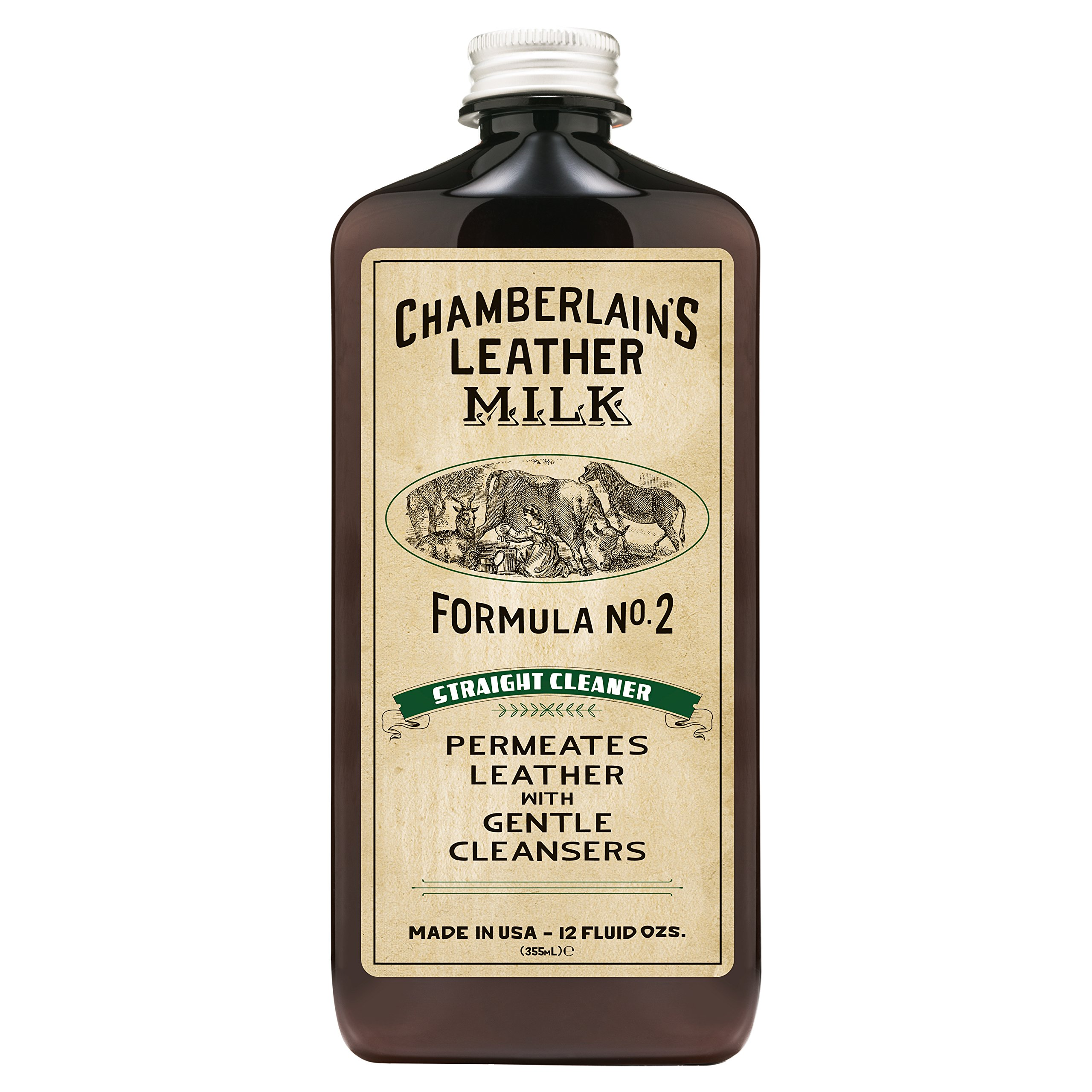 Leather Milk Leather Cleaner - Straight Cleaner No. 2 - All Natural, Non-Toxic Deep Cleaner Made in The USA. 2 Sizes. Includes Premium Cleaning Pad!
