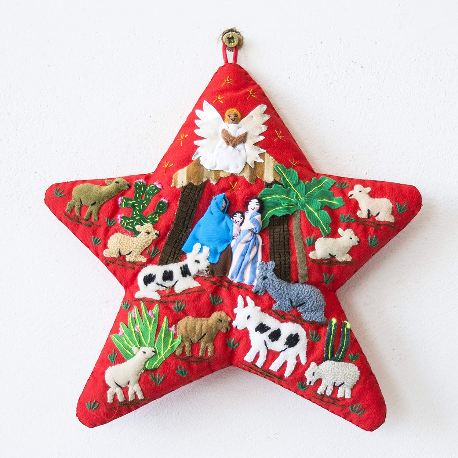 Amazon Com Red Quilted Christmas Wall Hanging 7 8 X7 8 From Peru Star Arpillera Patchwork Christmas Decor Applique Fabric Holiday Wall Decor Nativity Scene Handmade