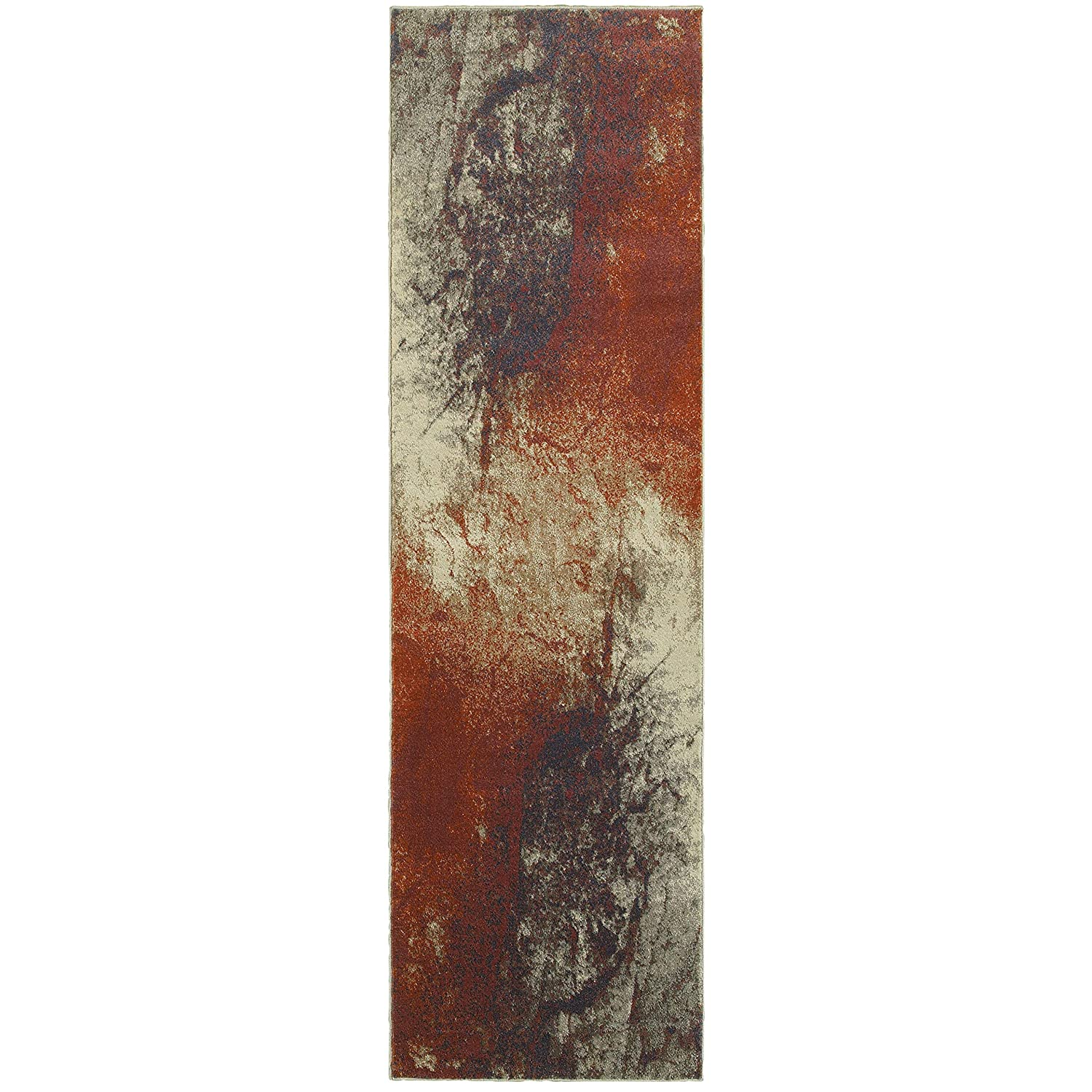 Christopher Knight Home CK-E4331 Paradise Abstract Indoor Runner 2ft 3in X 7ft 6in Beige,Orange