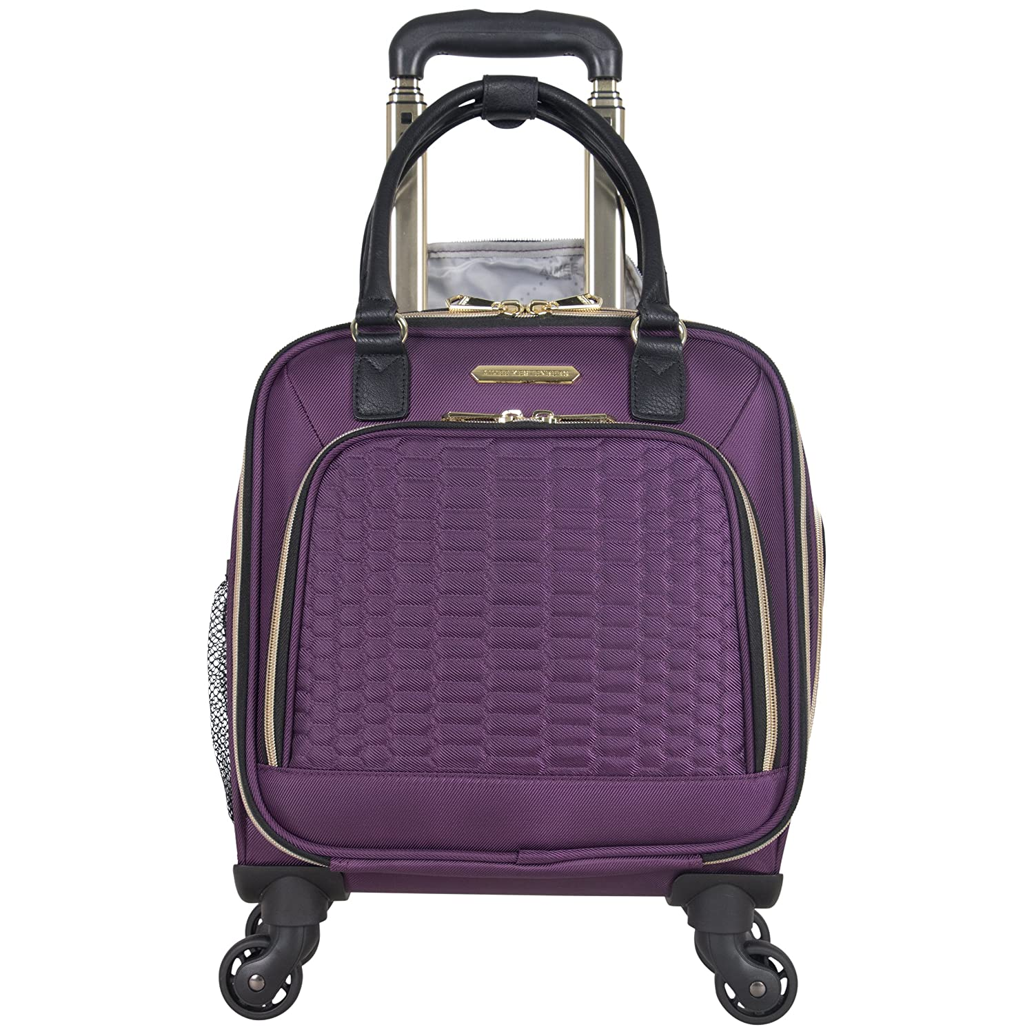 Aimee Kestenberg Polyester Twill Double Pocket Quilted Python 4-Wheel Underseater Carry-On Luggage, Plum 48279
