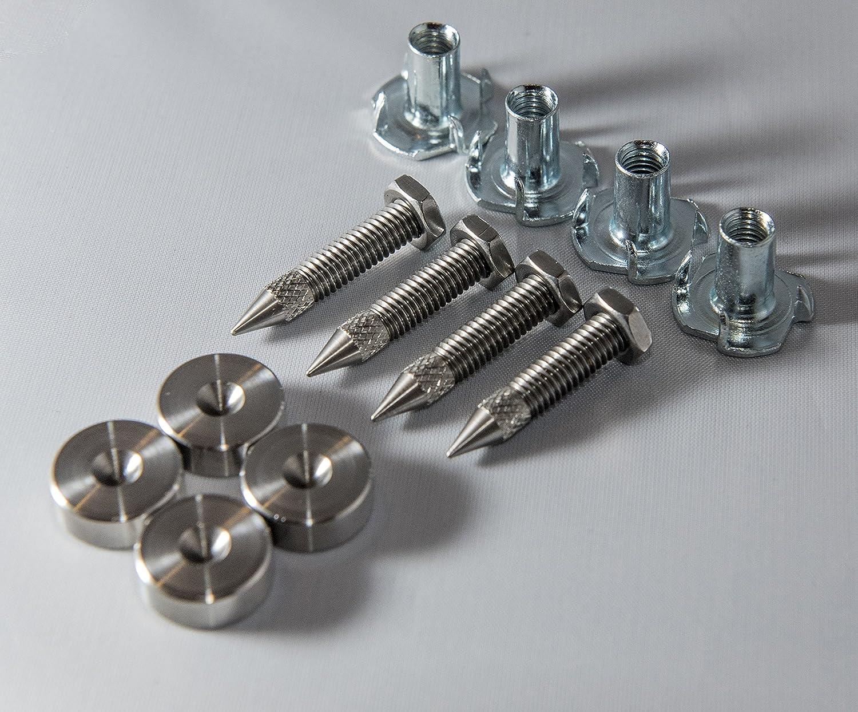 Punte (con inserti) M6 e sottopunte per altoparlanti Hi-Fi da pavimento in acciaio inox, realizzati nel Regno Unito PrecisionGeekUK