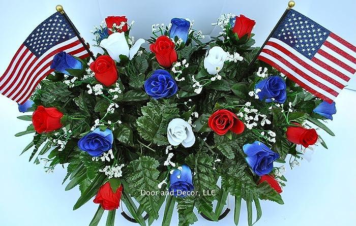Amazon patriotic cemetery headstone flowers in red white and patriotic cemetery headstone flowers in red white and blue roses with flags mightylinksfo