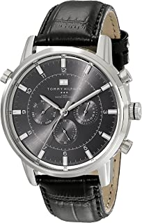 2a5ec1a5eec Tommy Hilfiger Men s 1790875 Sport Luxury Stainless Steel Watch with Black  Leather Band