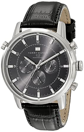 512294e6b Image Unavailable. Image not available for. Color: Tommy Hilfiger Men's  1790875 Sport Luxury Stainless Steel Watch with Black Leather Band
