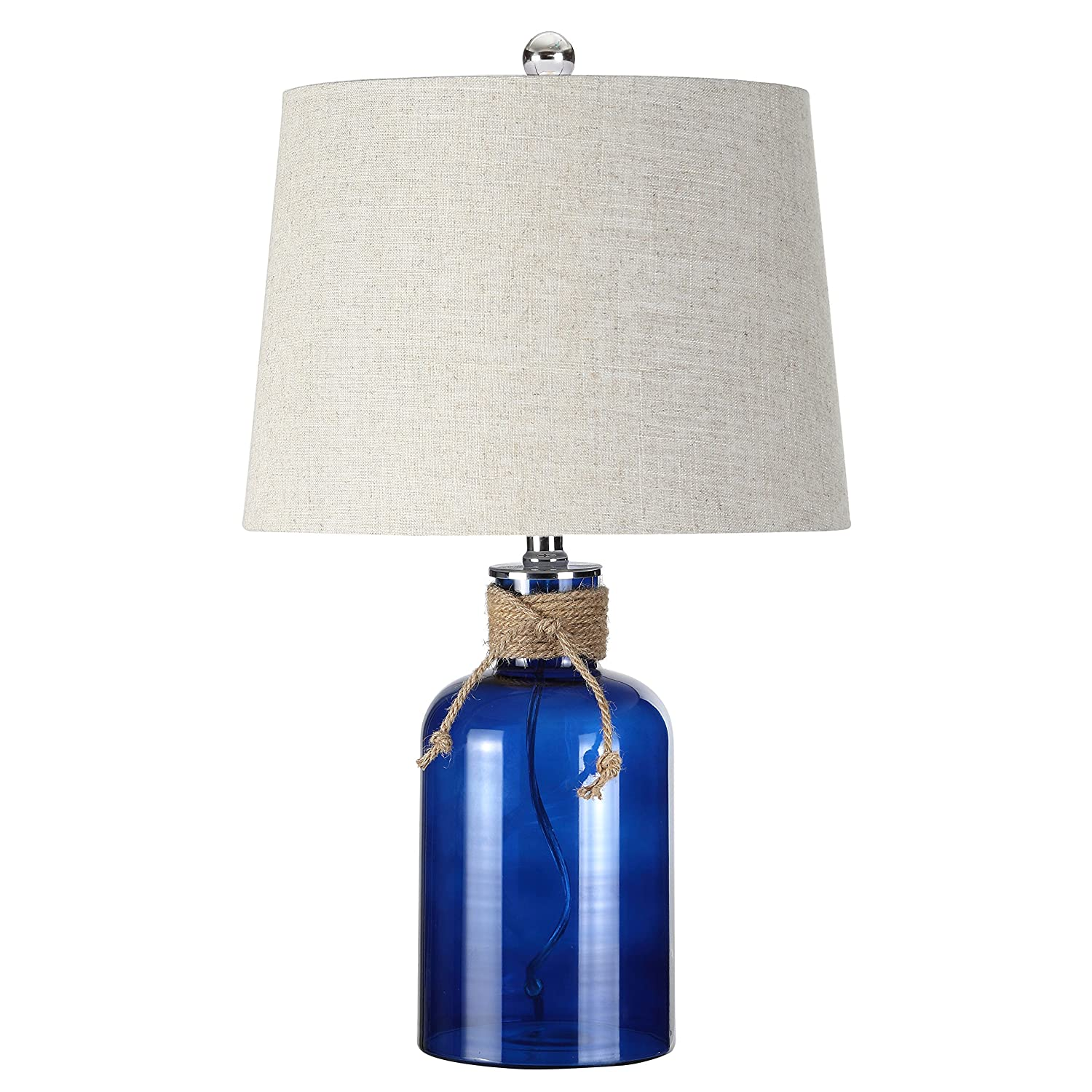 "Jonathan Y JYL1004A Table Lamp, 14"" x 23.5"" x 14"", Cobalt with Gray Shade"