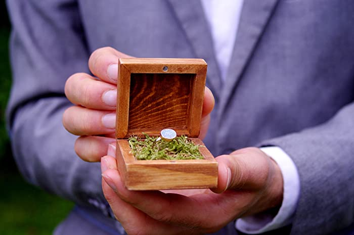 Wooden ring box engagement ring box with natural moss rustic boho