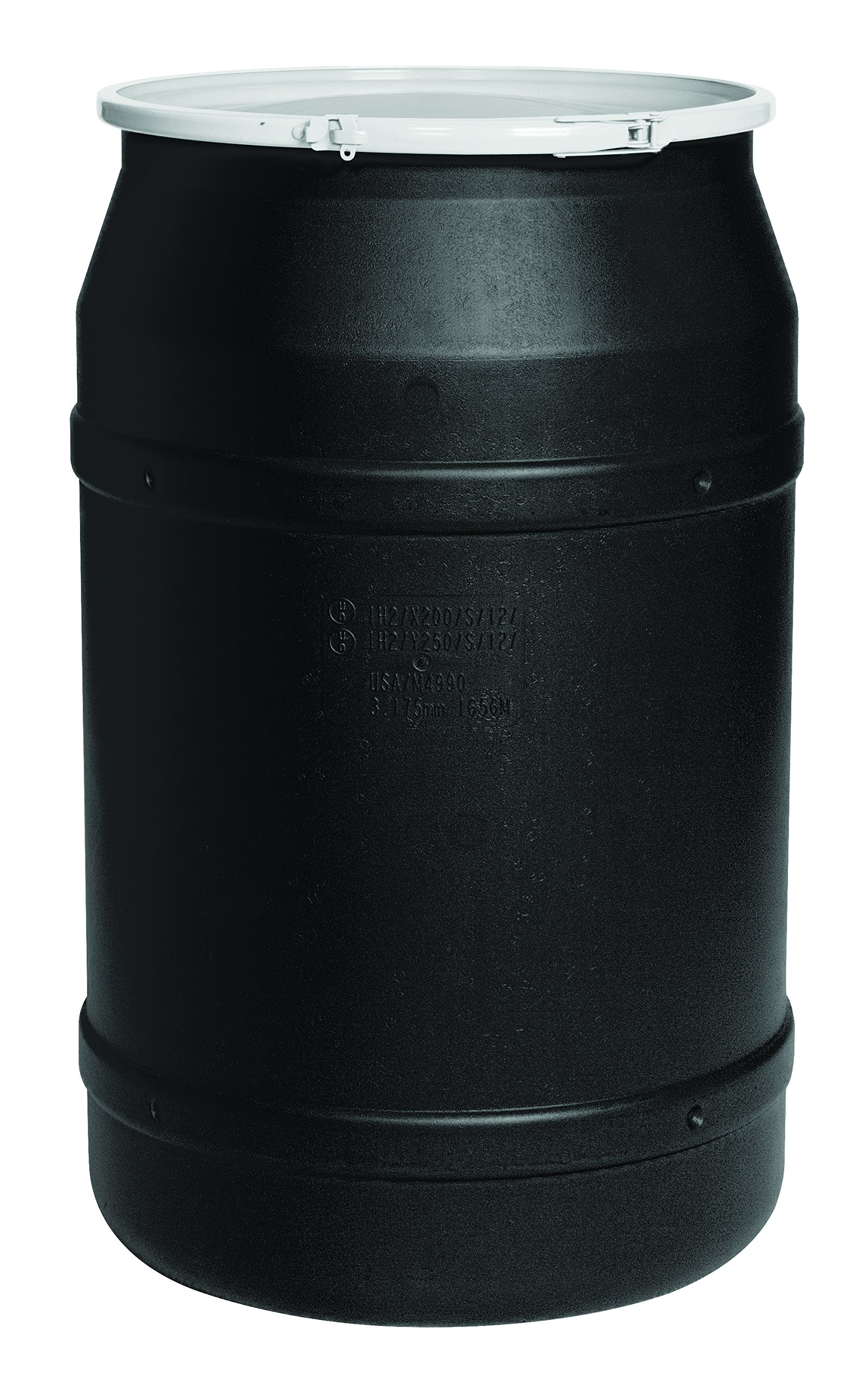 Eagle 1656BLK Black Drum with Poly Lever Lock Ring, 55 gal Capacity by Eagle (Image #1)