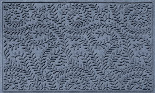 Bungalow Flooring Waterhog Doormat, 3 x 5 Made in USA, Durable and Decorative Floor Covering, Skid Resistant, Indoor Outdoor, Water-Trapping, Boxwood Collection, Bluestone