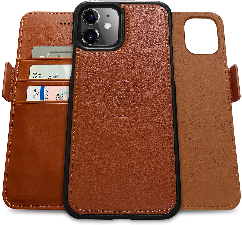 Dreem Fibonacci 2-in-1 Wallet-Case for Apple iPhone 12 Mini - Luxury Vegan Leather, Magnetic Detachable Shockproof Phone Case, RFID Card Protection, 2-Way Flip Stand - Caramel