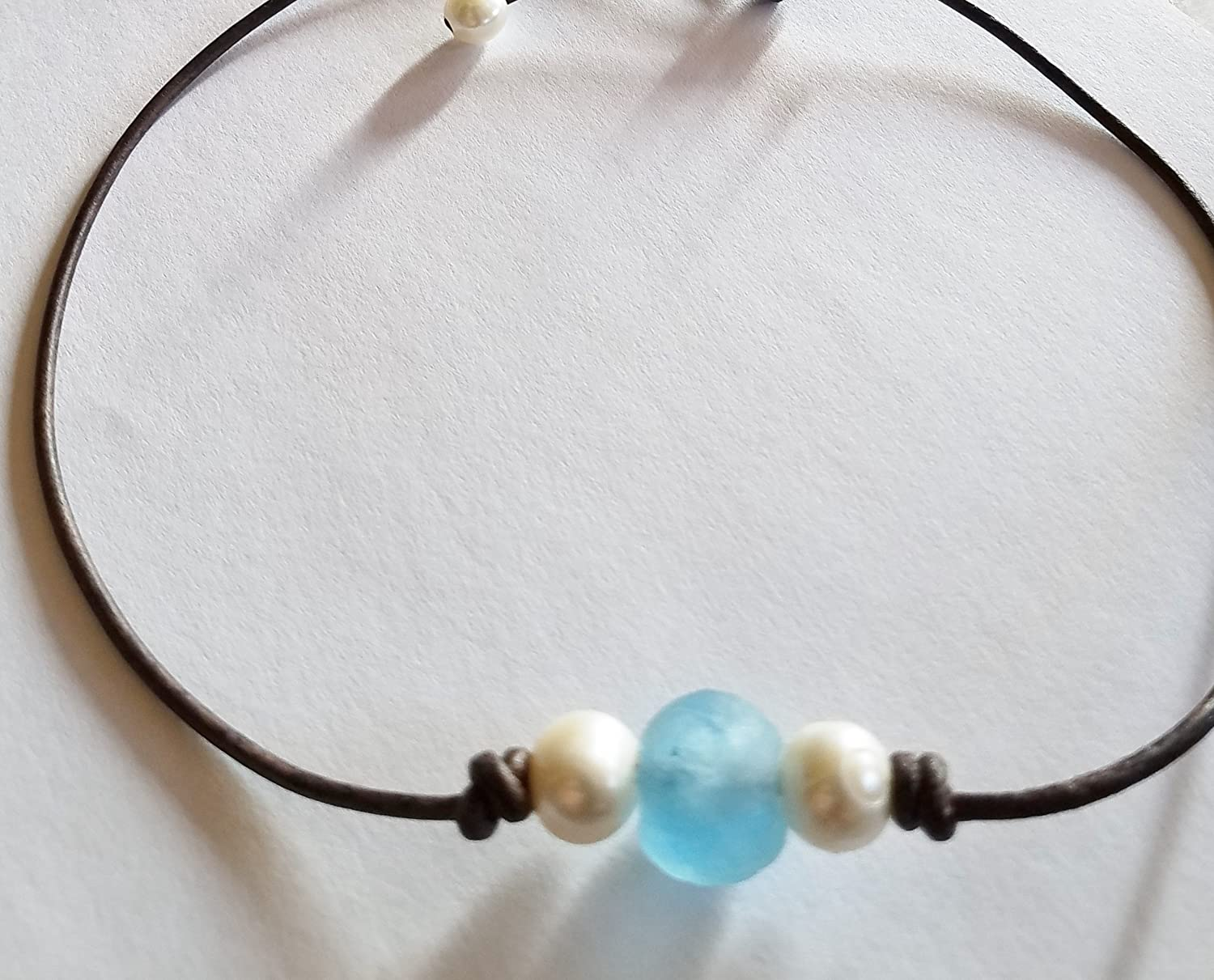 The'OB' Sea Glass and Pearl Choker by Seasidepearls30a QUICK SHIP