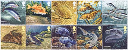 Sea Life Stamps for Postage 2007 Sea life stamps featuring Starfish and Octopus etc 10 x Royal Mail 1st Class Stamps