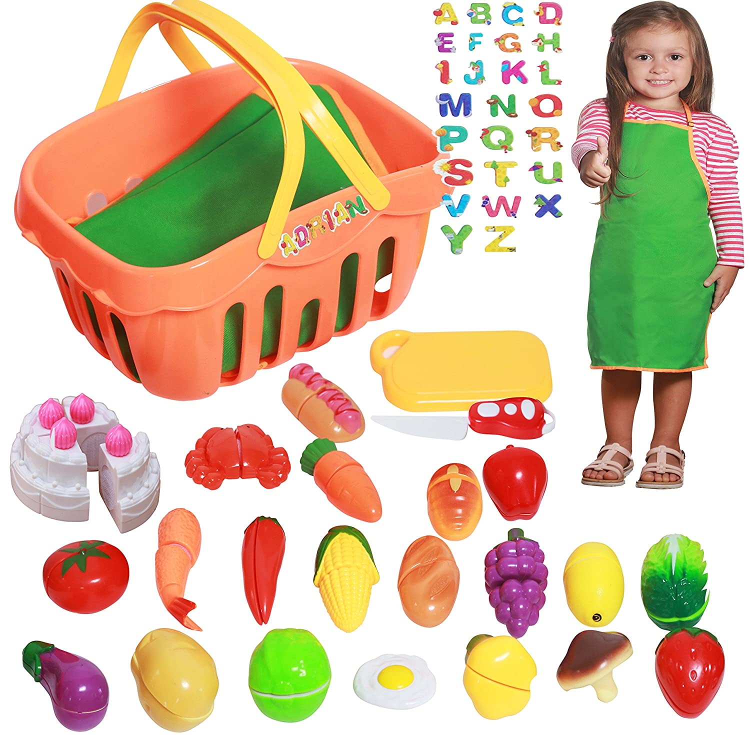 Play Food Set for Kids & Toy Food for Pretend Play - 26 Piece Play Kitchen Set with Childrens Educational Food Toys for Toddlers Inspires Imagination - Fake Plastic Foods for Cooking