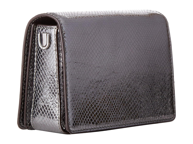 d5336375d636 Amazon.com  Michael Kors Jade Medium Gusset Snake Skin Embossed Leather  Clutch Crossbody Handbag in Light Pewter  Clothing