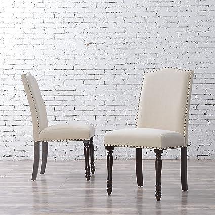 Brilliant Amazon Com Elegant Set Of 2 Parson Chair Linen Seat Ncnpc Chair Design For Home Ncnpcorg