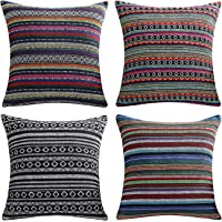 AmHoo Bohemian Retro Stripe Throw Pillow Covers Double-Sided Pattern with Hidden Zipper Colorful Ethnic Pillowcase for…