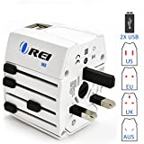 Universal Travel Adapter OREI All In One International Power Adapter with 2.4A Dual USB, European Adapter Travel Power Adapter Wall Charger for UK, EU, AU, Asia Covers 150+ Countries
